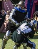 Knights in battle. Medieval Display. Warkworth, Northumberland. England. UK. Stock Image