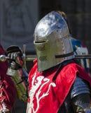 Knights in battle. Medieval Display. Warkworth, Northumberland. England. UK. Stock Photo