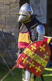 Knights in battle. Medieval Display. Warkworth, Northumberland. England. UK. Stock Images