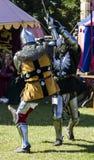 Knights in battle. Medieval Display. Warkworth, Northumberland. England. UK. Royalty Free Stock Photos