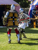 Knights in battle. Medieval Display. Warkworth, Northumberland. England. UK. Royalty Free Stock Images