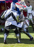 Knights in battle. Medieval Display. Warkworth, Northumberland. England. UK. Stock Photography