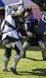 Knights in battle. Medieval Display. Warkworth, Northumberland. England. UK. Royalty Free Stock Image