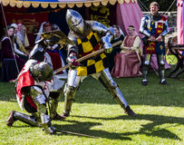 Knights in battle. Medieval Display. Warkworth, Northumberland. England. UK. Stock Photos