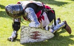 Knights in battle. Medieval Display. Warkworth, Northumberland. England. UK. Stock Photos