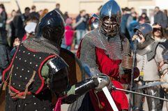 Knights battle Stock Images
