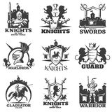 Knights Black White Emblems. With heraldic lions crossed weapon horseman and armed fighter isolated vector illustration Royalty Free Stock Images