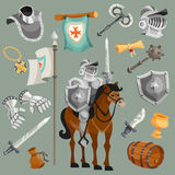 Knights Cartoon Set Stock Images
