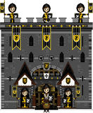 Knights at Castle. Cut Cartoon Medieval Crusader Knights at Castle Stock Photos
