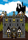 Knights at Castle. Cut Cartoon Medieval Crusader Knights at Castle Stock Image