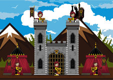 Knights at Castle. Cut Cartoon Medieval Crusader Knights at Castle Royalty Free Stock Image