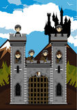 Knights at Castle. Cut Cartoon Medieval Crusader Knights at Castle Stock Photo
