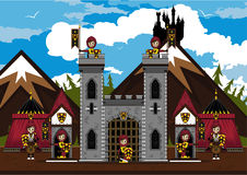 Knights at Castle. Cut Cartoon Medieval Crusader Knights at Castle Stock Images