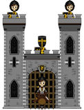 Knights at Castle. Cut Cartoon Medieval Crusader Knights at Castle Royalty Free Stock Photos
