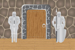Knights in castle guarding door. Vector illustration isolated on background Stock Image