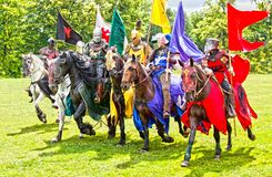 Free Knights Cavalry On Horseback Medieval Times Stock Photo - 160661780