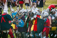 Knights Clash. Foot Knights Clash at the 601th anniv. of Battle of Grunwald, 4000 reenactors,1200 knights, 20k spectators. July 16 2011 Poland Stock Images