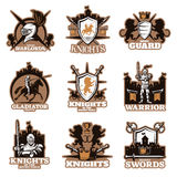 Knights Colored Emblems. With shield and crossed weapon royal symbols armed fighters ancient castles isolated vector illustration Royalty Free Stock Photos