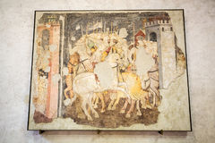 Knights in Combat in Castelvecchio Museum. Verona, royalty free stock images