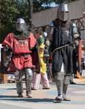 Knights come to the hippodrome for the battle Royalty Free Stock Photos