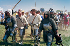 Knights coming to the battlefield Stock Photo