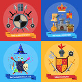 Knights concept 4 flat icons square Stock Image