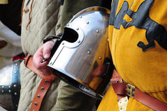 Knights detail. Detail of two knights with helmet Stock Images