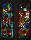 Knights Dragons Stained Glass Saigon. Knights and Dragons Stained Glass, Notre Dame Cathedral, Nha Tho Duc Ba, built in 1883 largest cathedral in French Empire Royalty Free Stock Photo