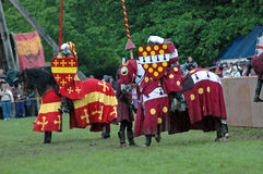 Knights before duel. Duel between two knights in Warwick castle, United Kingdom Stock Photo