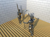 Knights. Duel of knights in armor with sword and Trident Stock Image