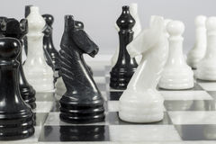 Knights face to face in a marble chess board Royalty Free Stock Photography