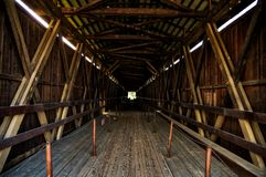 Knights ferry wooden walking bridge. View from one side to the other Stock Photography