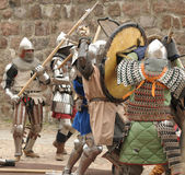 Knights in the field of fight Royalty Free Stock Photo