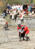 Knights fight. Of Battle of the Nations (BOTN) on Libusin battle in Czech Republic (25th of April 2015 Stock Photo