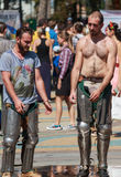 Knights after the fight came refreshed with water from the fountain. Ukrainian-Polish tournament of historical medieval battle. Maxim Gorky Central Park for Royalty Free Stock Images