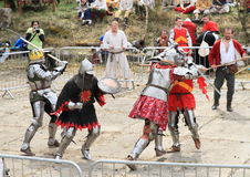 Knights fight in mass brawl Royalty Free Stock Images