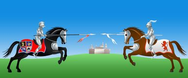 Knights fight. Knights with the spears on their horses Royalty Free Stock Image