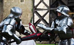 The knights fight stock photo
