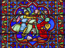 Knights Fighting Battle Stained Glass Notre Dame Paris france Stock Image