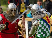 The knights fighting. Fighting knights at the knight festival stock photos