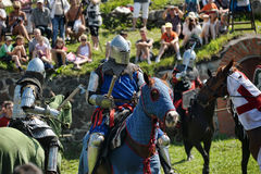 Knights fighting on horseback Stock Photo