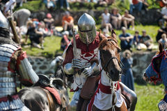 Knights fighting on horseback Royalty Free Stock Photography