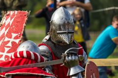 The knights fighting. Fighting knights at the knight festival royalty free stock image
