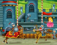 The knights fighting in the tournament Stock Photography