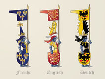 Knights French English Deutch stock photography