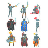 Knights In Full Armor Set Of Flat Illustrations Royalty Free Stock Photography