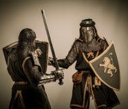 Knights in full body armor Stock Image