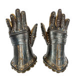 Knights gauntlets ancient medieval original isolated with clippi. Pair of Knights armour gauntlets medieval ancient and original isolated with clipping path Stock Photos
