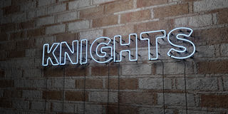 KNIGHTS - Glowing Neon Sign on stonework wall - 3D rendered royalty free stock illustration Stock Photography