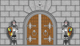 Knights guarding gates in vector. Two identical knight with swords guarding the gates of the fortress. Vector clipart Royalty Free Stock Image